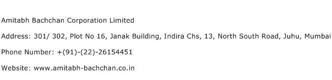Amitabh Bachchan Corporation Limited Address Contact Number