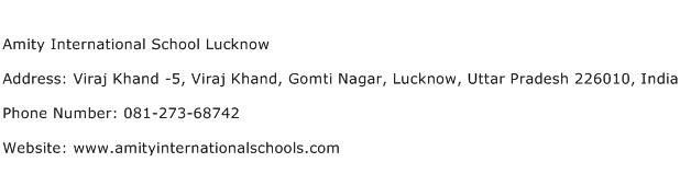 Amity International School Lucknow Address Contact Number