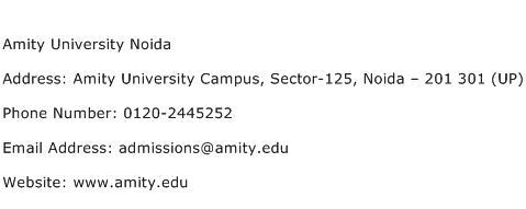 Amity University Noida Address Contact Number