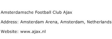 Amsterdamsche Football Club Ajax Address Contact Number