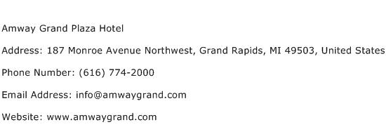 Amway Grand Plaza Hotel Address Contact Number