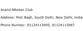 Anand Niketan Club Address Contact Number