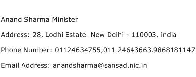 Anand Sharma Minister Address Contact Number