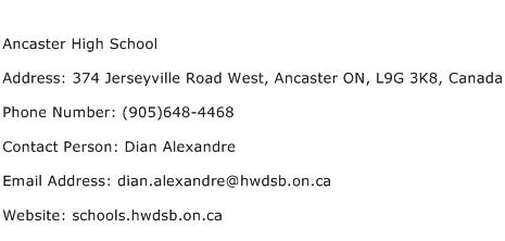 Ancaster High School Address Contact Number