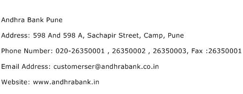Andhra Bank Pune Address Contact Number