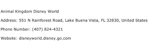 Animal Kingdom Disney World Address Contact Number