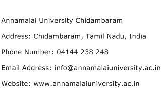 Annamalai University Chidambaram Address Contact Number