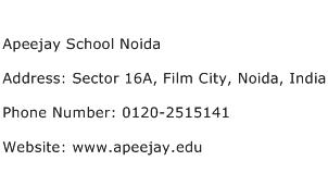 Apeejay School Noida Address Contact Number