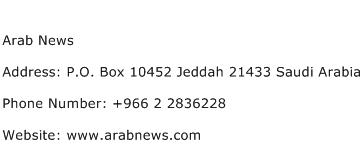 Arab News Address Contact Number