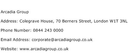 Arcadia Group Address Contact Number