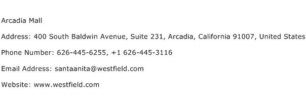 Arcadia Mall Address Contact Number