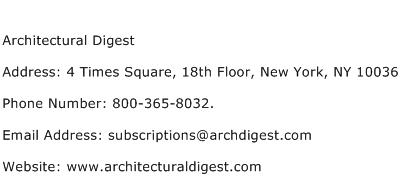 Architectural Digest Address Contact Number