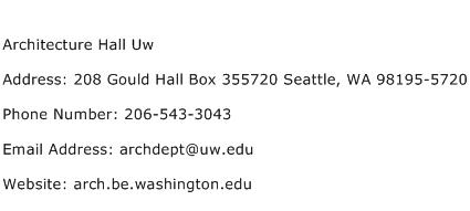 Architecture Hall Uw Address Contact Number