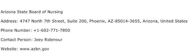 Arizona State Board of Nursing Address Contact Number