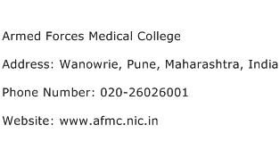 Armed Forces Medical College Address Contact Number