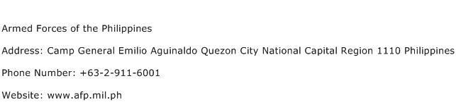 Armed Forces of the Philippines Address Contact Number