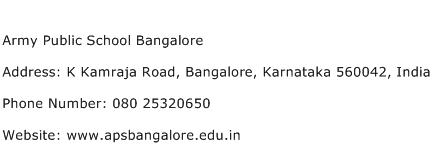 Army Public School Bangalore Address Contact Number