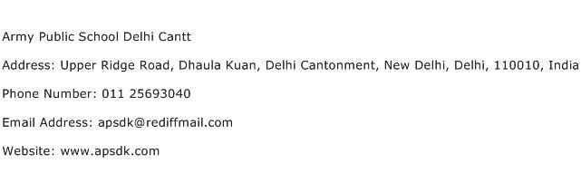 Army Public School Delhi Cantt Address Contact Number