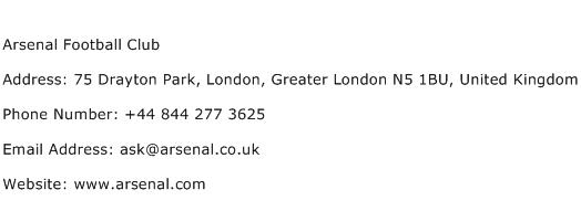 Arsenal Football Club Address Contact Number