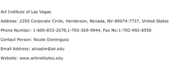 Art Institute of Las Vegas Address Contact Number