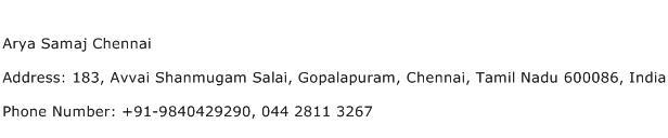 Arya Samaj Chennai Address Contact Number