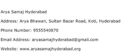 Arya Samaj Hyderabad Address Contact Number