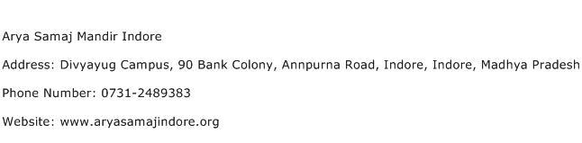Arya Samaj Mandir Indore Address Contact Number