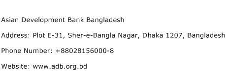 Asian Development Bank Bangladesh Address Contact Number