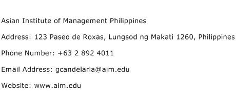 Asian Institute of Management Philippines Address Contact Number
