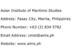 Asian Institute of Maritime Studies Address Contact Number