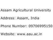 Assam Agricultural University Address Contact Number