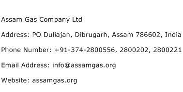 Assam Gas Company Ltd Address Contact Number