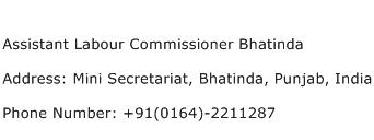 Assistant Labour Commissioner Bhatinda Address Contact Number