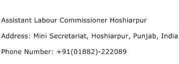 Assistant Labour Commissioner Hoshiarpur Address Contact Number