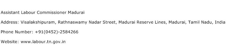 Assistant Labour Commissioner Madurai Address Contact Number