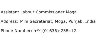 Assistant Labour Commissioner Moga Address Contact Number