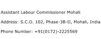 Assistant Labour Commissioner Mohali Address Contact Number