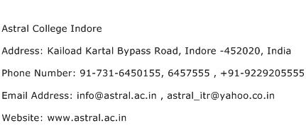 Astral College Indore Address Contact Number