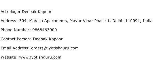Astrologer Deepak Kapoor Address Contact Number