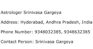 Astrologer Srinivasa Gargeya Address Contact Number