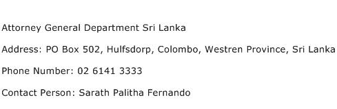 Attorney General Department Sri Lanka Address Contact Number