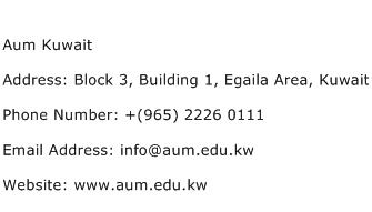 Aum Kuwait Address Contact Number