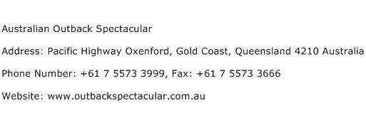 Australian Outback Spectacular Address Contact Number