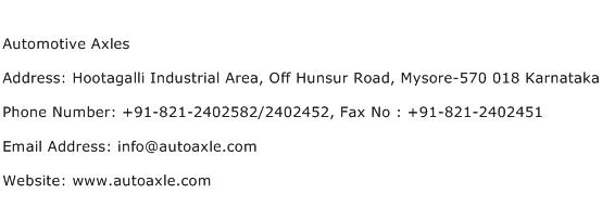 Automotive Axles Address Contact Number