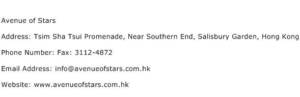 Avenue of Stars Address Contact Number