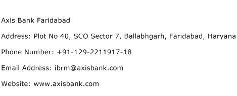 Axis Bank Faridabad Address Contact Number