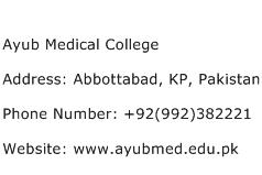 Ayub Medical College Address Contact Number
