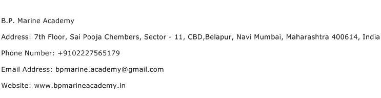 B.P. Marine Academy Address Contact Number
