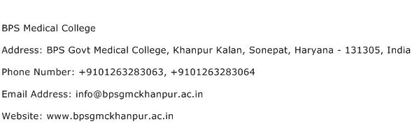 BPS Medical College Address Contact Number