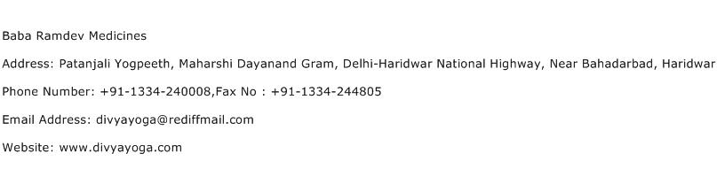 Baba Ramdev Medicines Address Contact Number